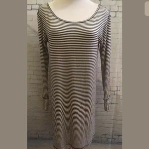 Obey 89 Women's small Charcoal Gray Stripe tunic